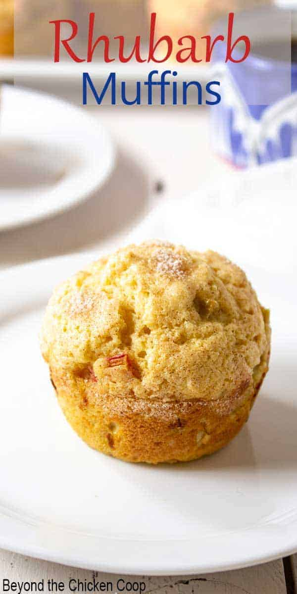 A rhubarb muffin on a white plate.