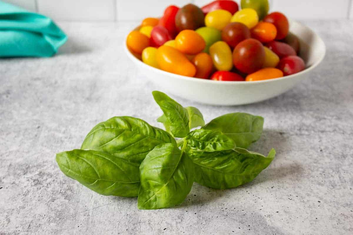 Fresh basil in front of a bowl of cherry tomatoes.