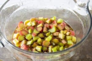 Macerated rhubarb in a bowl filled with liquid.