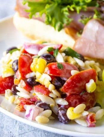Orzo pasta salad on a white plate with a sandwich and grapes.
