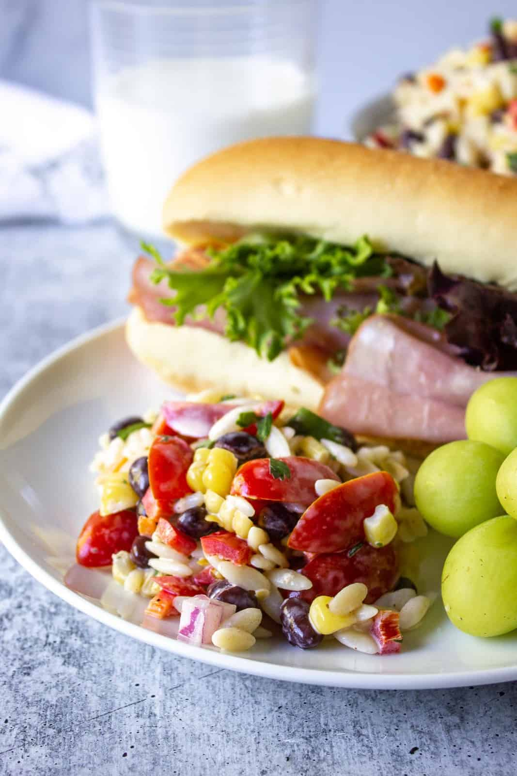 A plate with a ham sandwich, fresh grapes and a pasta salad.