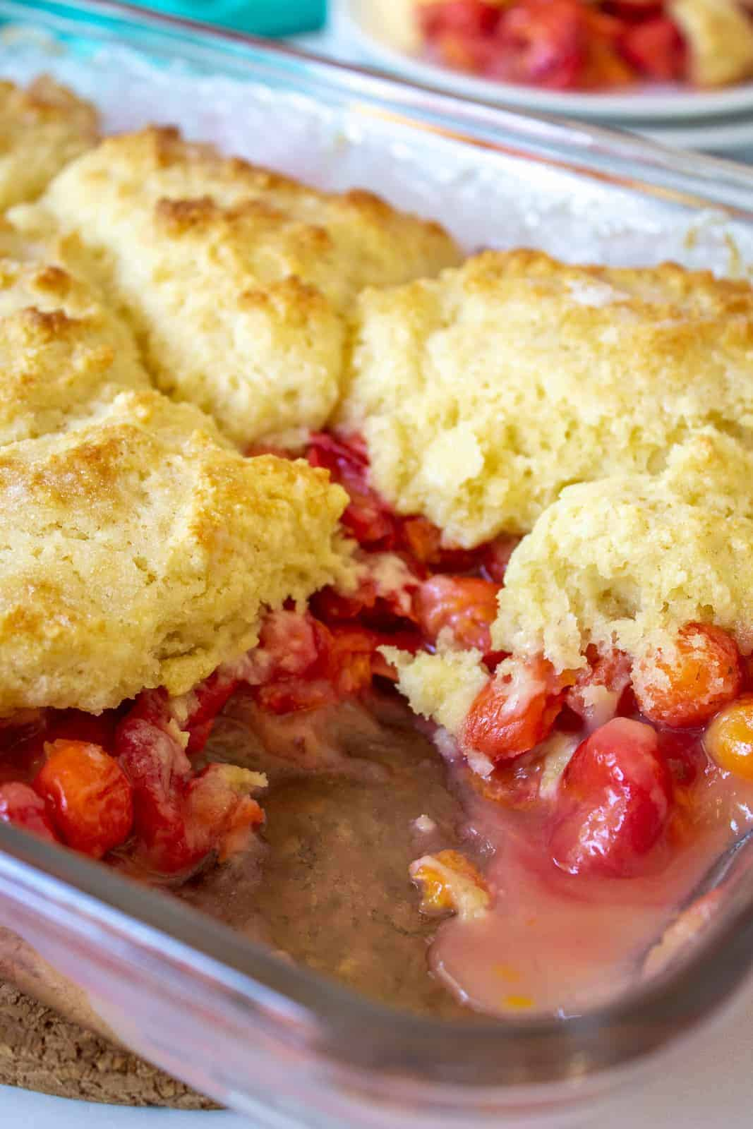 Cherry cobbler with a biscuit topping.
