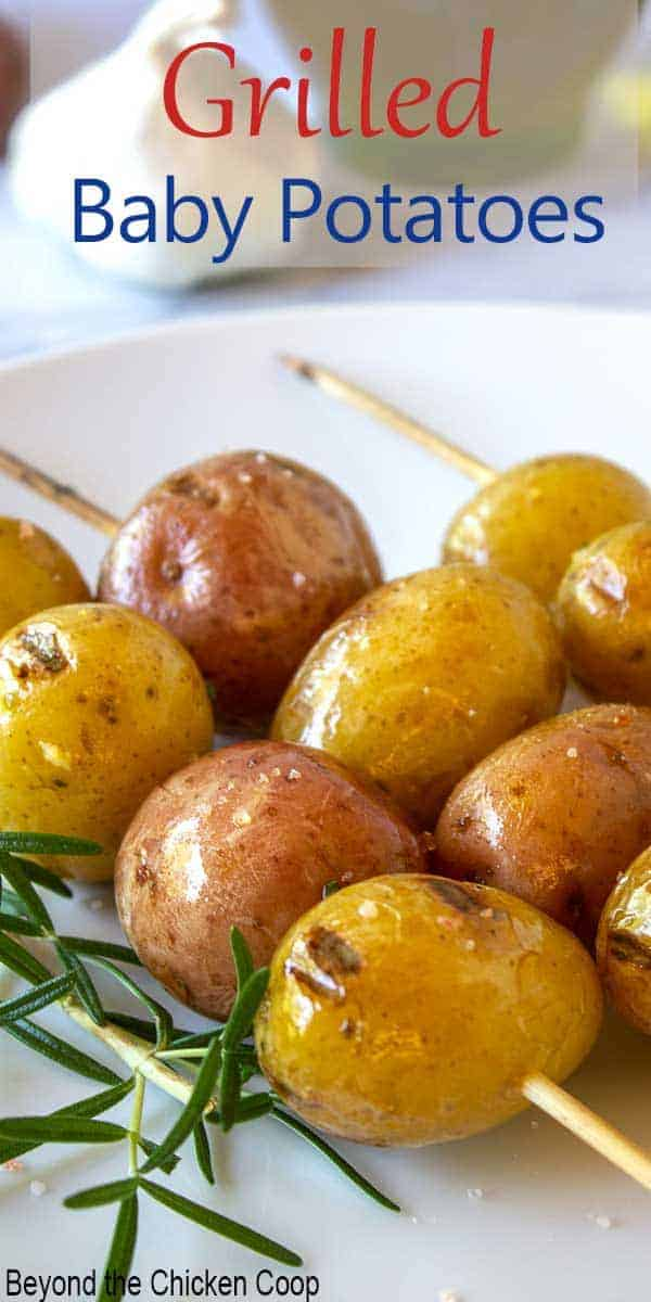 Skewered baby potatoes with fresh rosemary.
