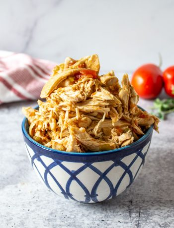 A blue and white bowl filled with shredded chicken and bits of tomatoes.