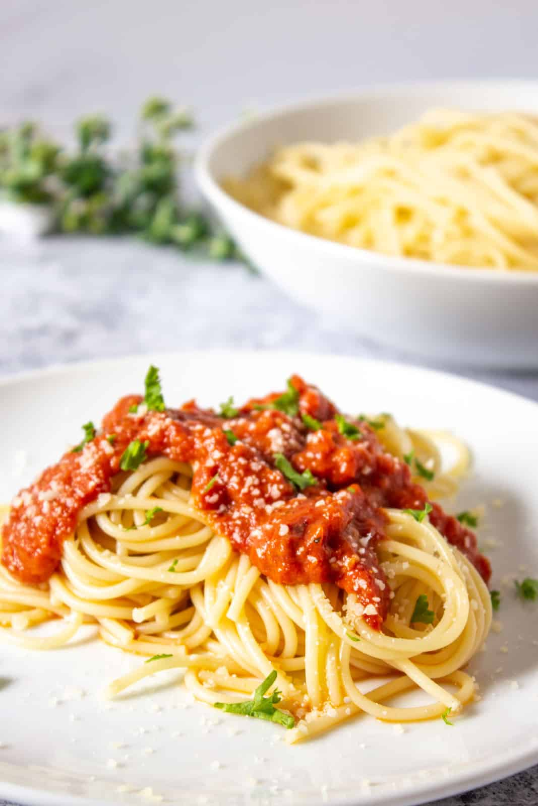 Pasta with oven roasted tomato sauce.