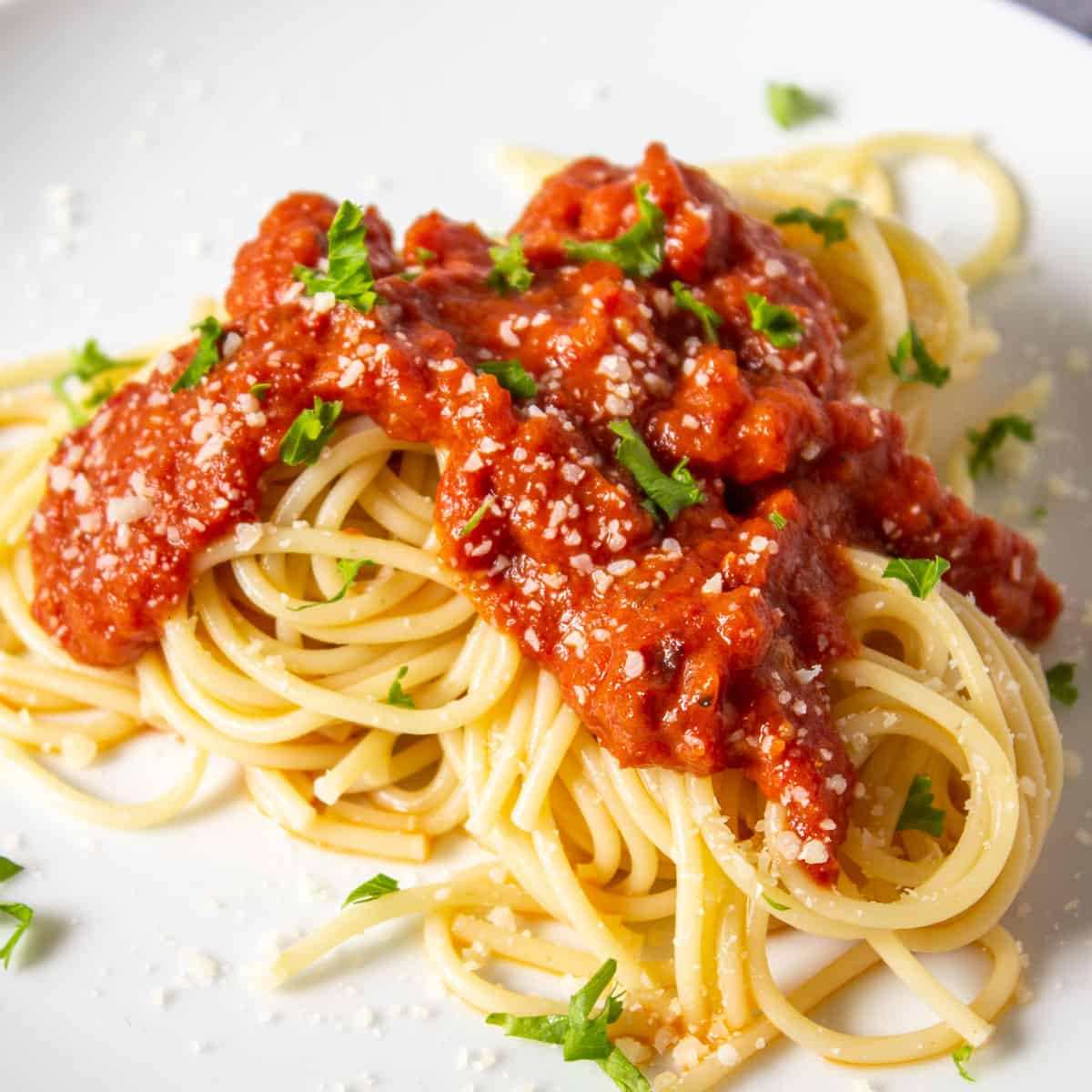 Spaghetti noodles topped with a roasted tomato sauce and topped with parmesan cheese.