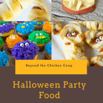 Four pictures featuring different Halloween foods.