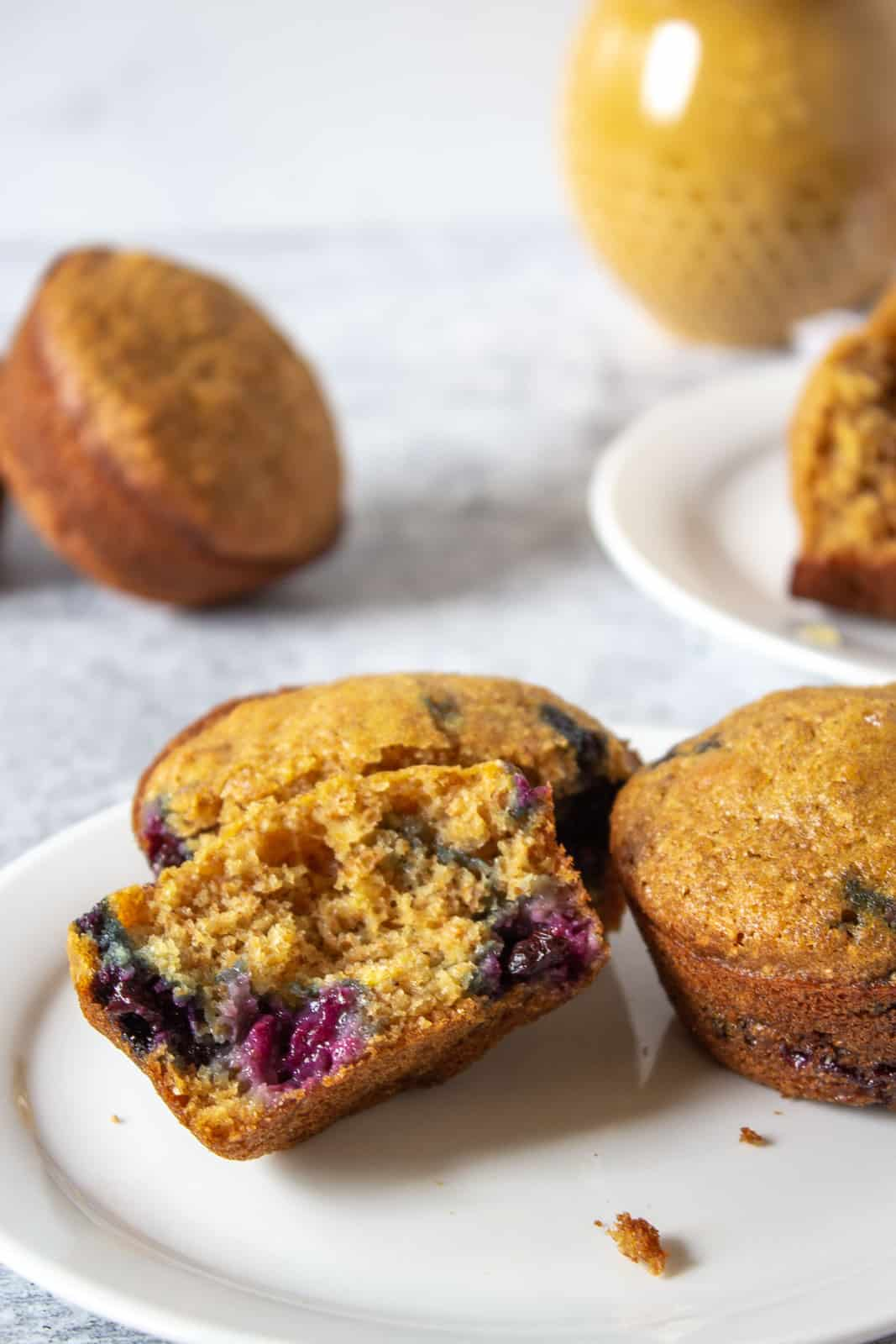 A bran muffins with blueberries on a plate.