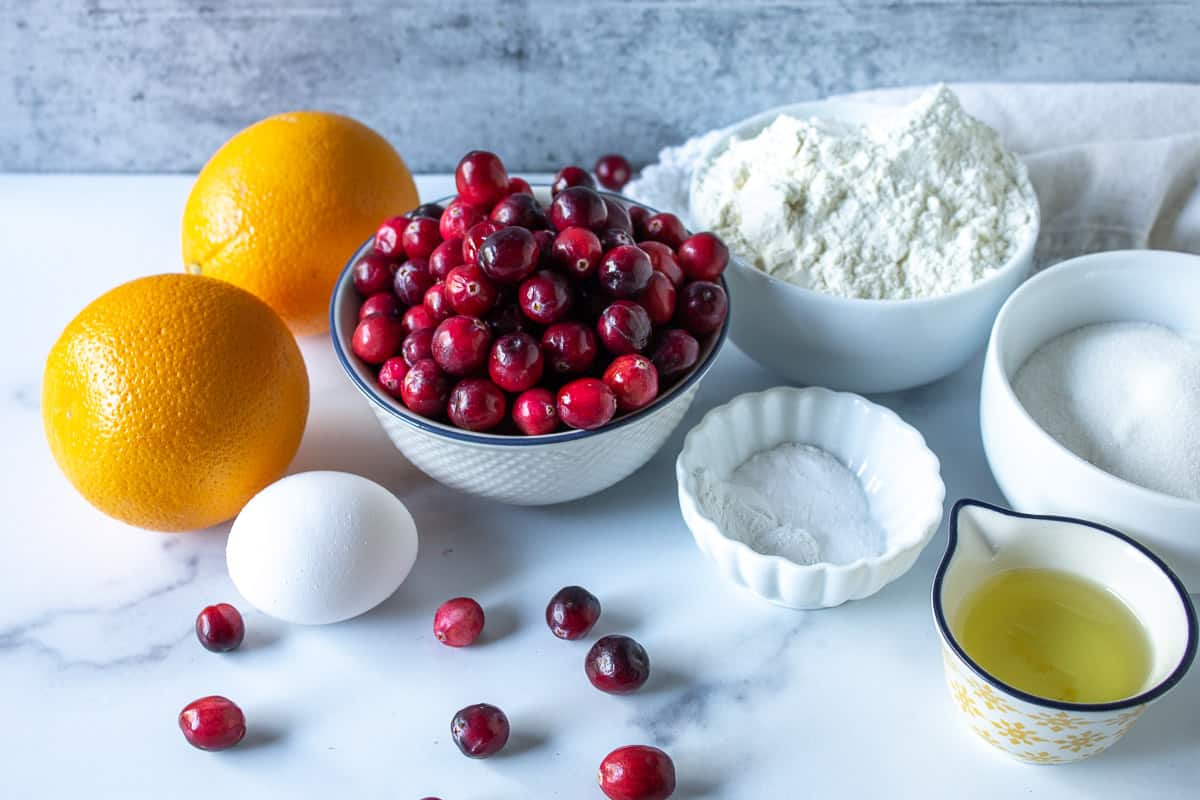 Ingredients for making cranberry bread.