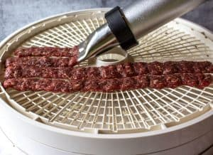 Squeezing our ground venison onto a dehydrator tray.
