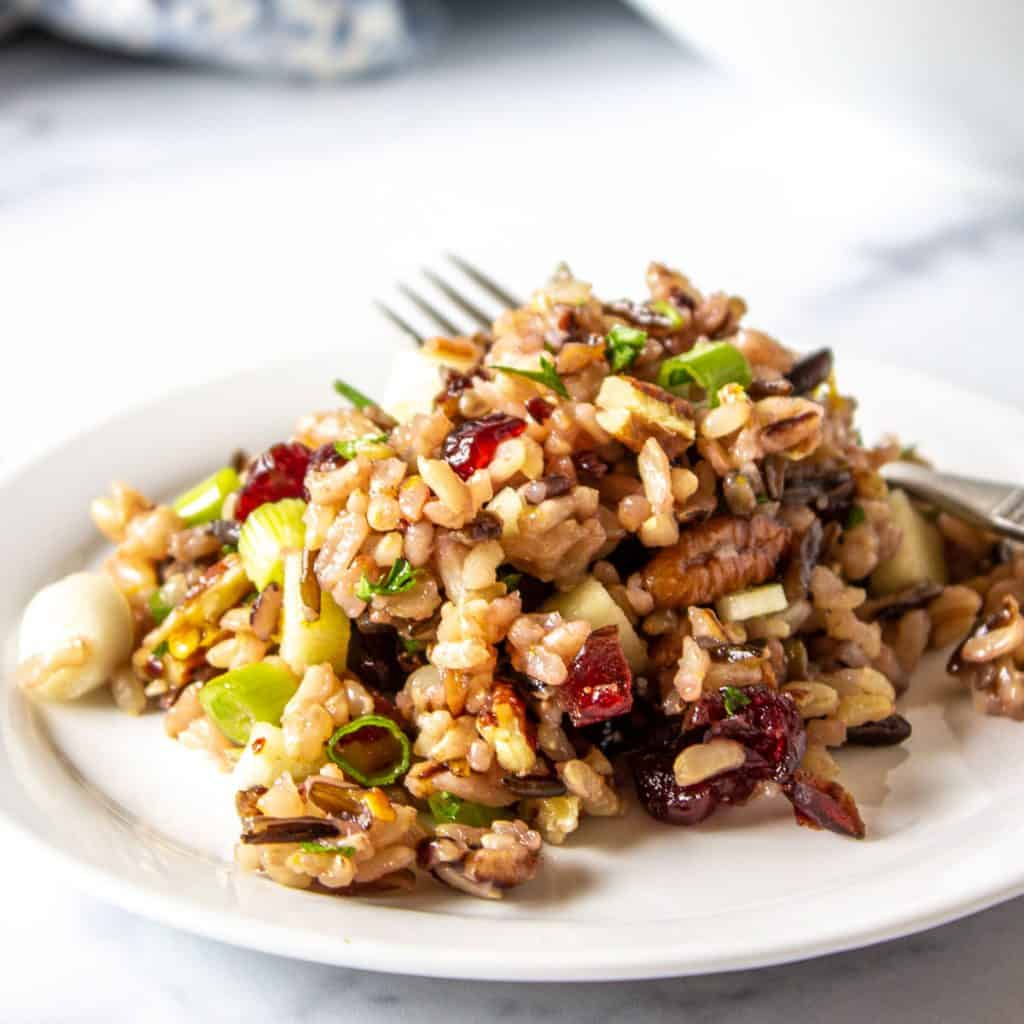 Wild rice salad with dried cranberries, pecans and green onions on a small white plate with a fork.