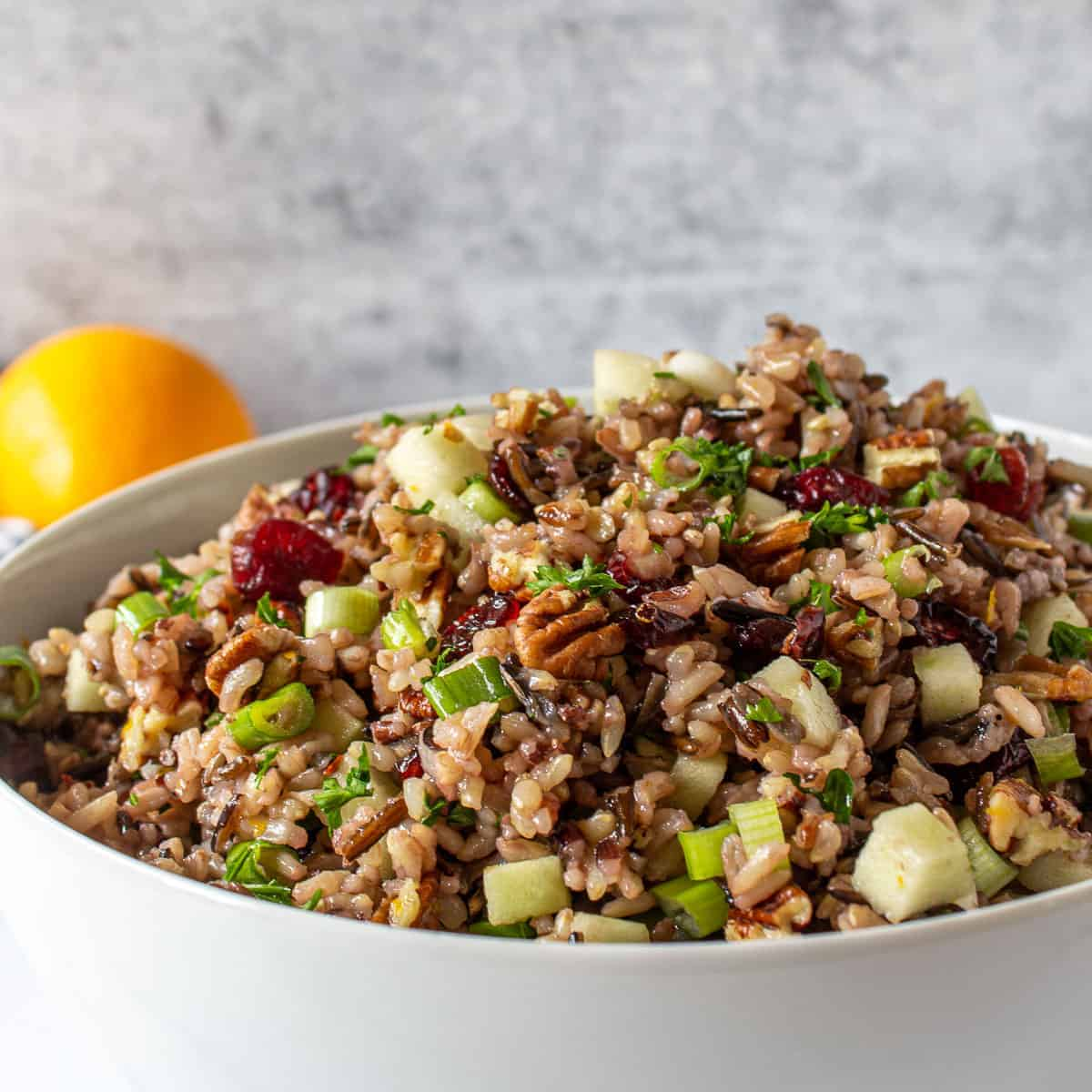 A white bowl filled with a wild rice salad with pecans and cranberries.
