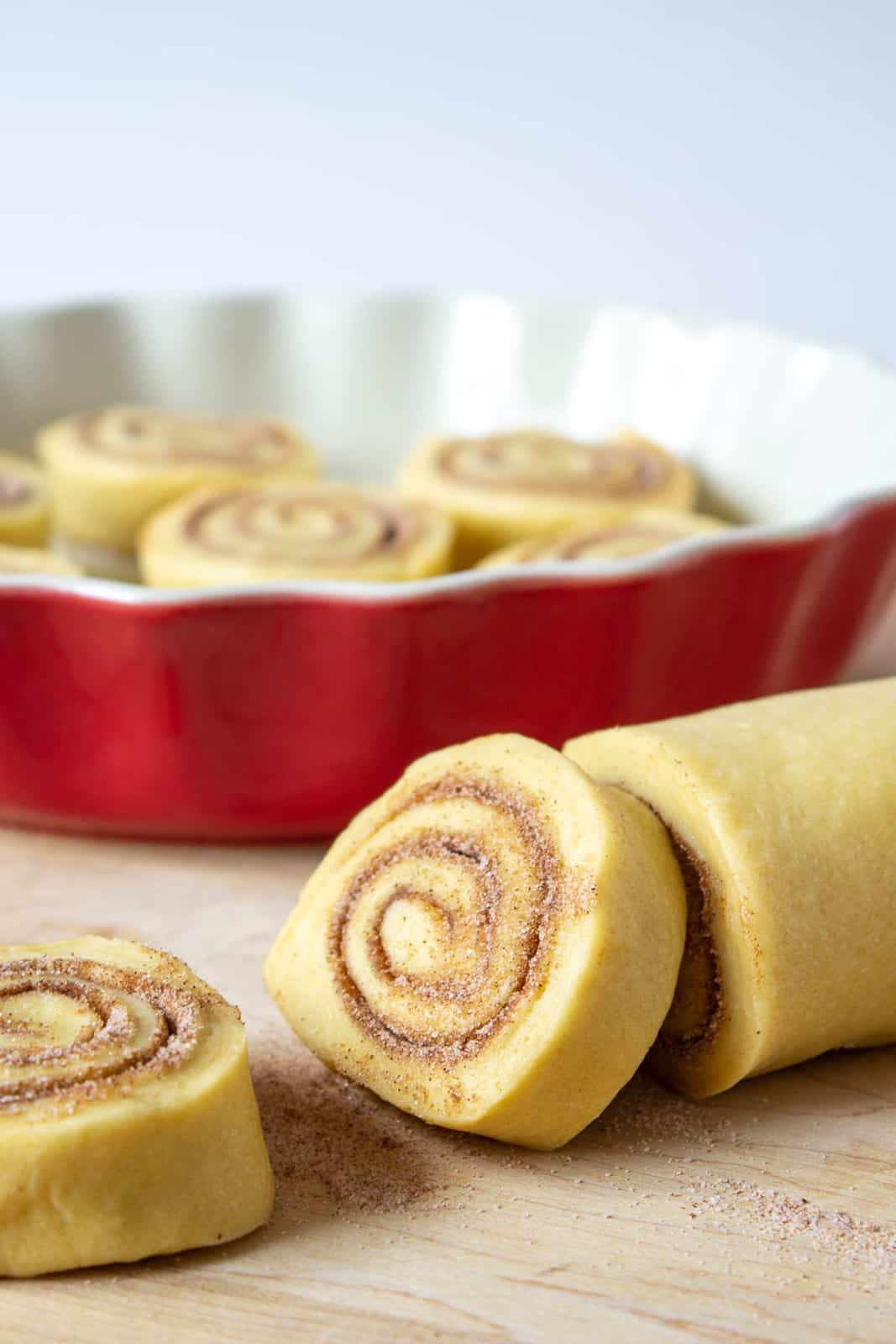 Rolled dough filled with cinnamon and sugar.