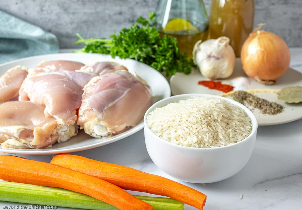 A display of white rice, raw chicken, carrots, celery onion and parsley on a white surface.
