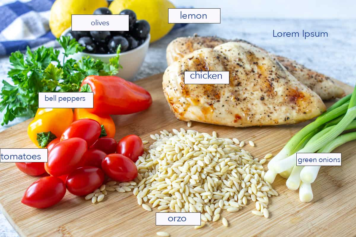 An arrangement of ingredients including orzo, chicken and tomatoes.