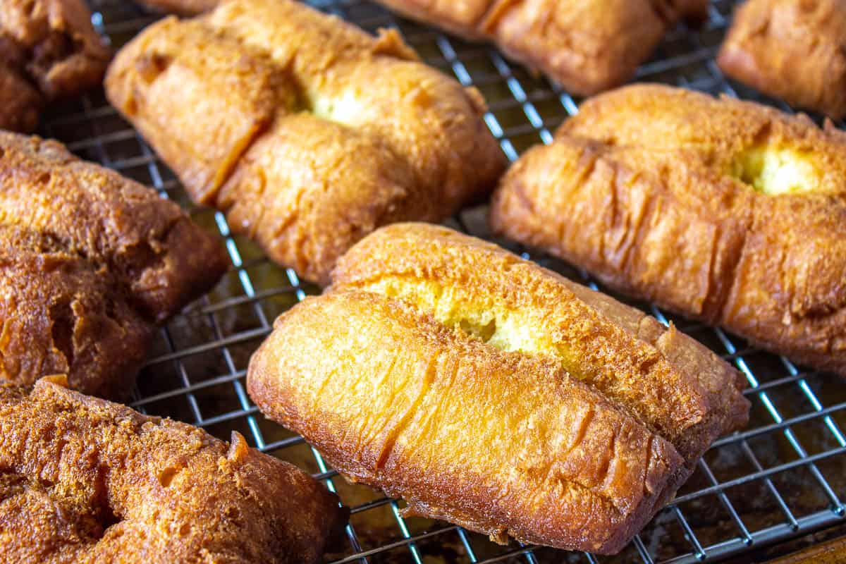 Fried bars on a baking rack.