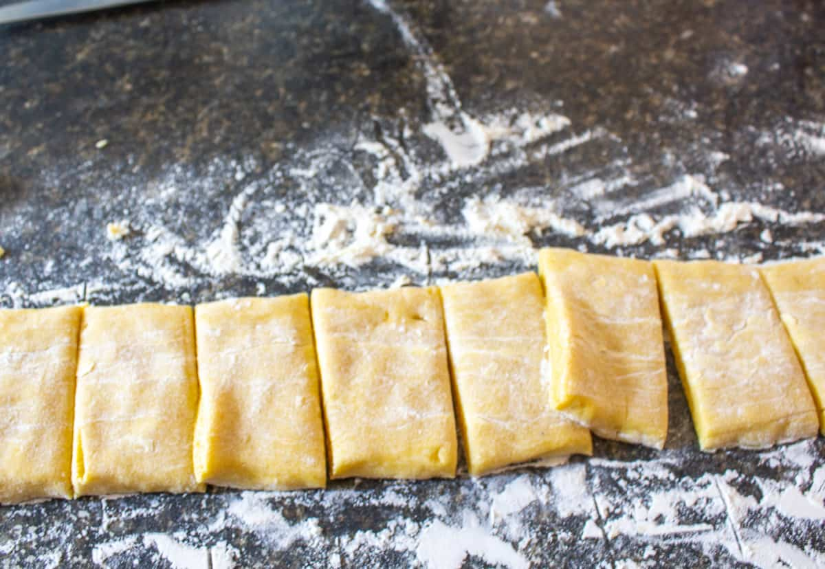 Dough cut into small rectangles.