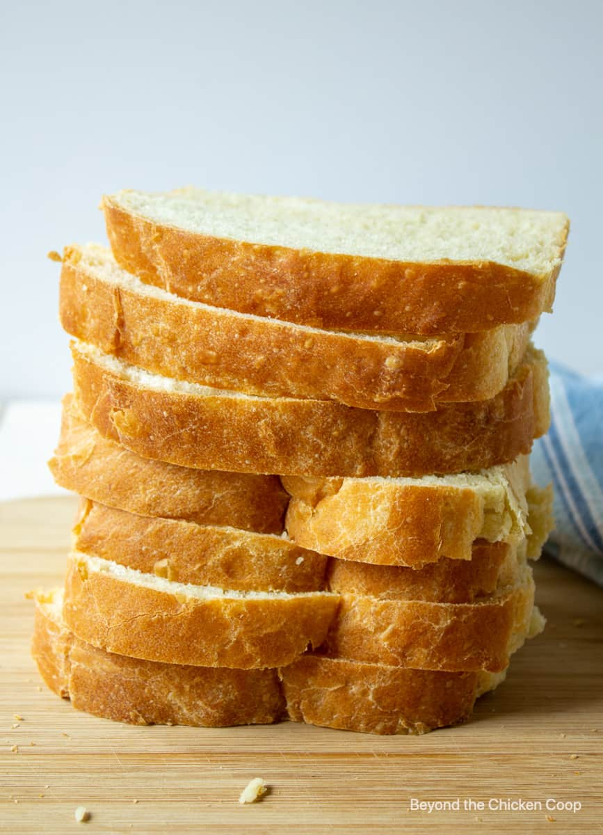 A stack of homemade sliced bread.
