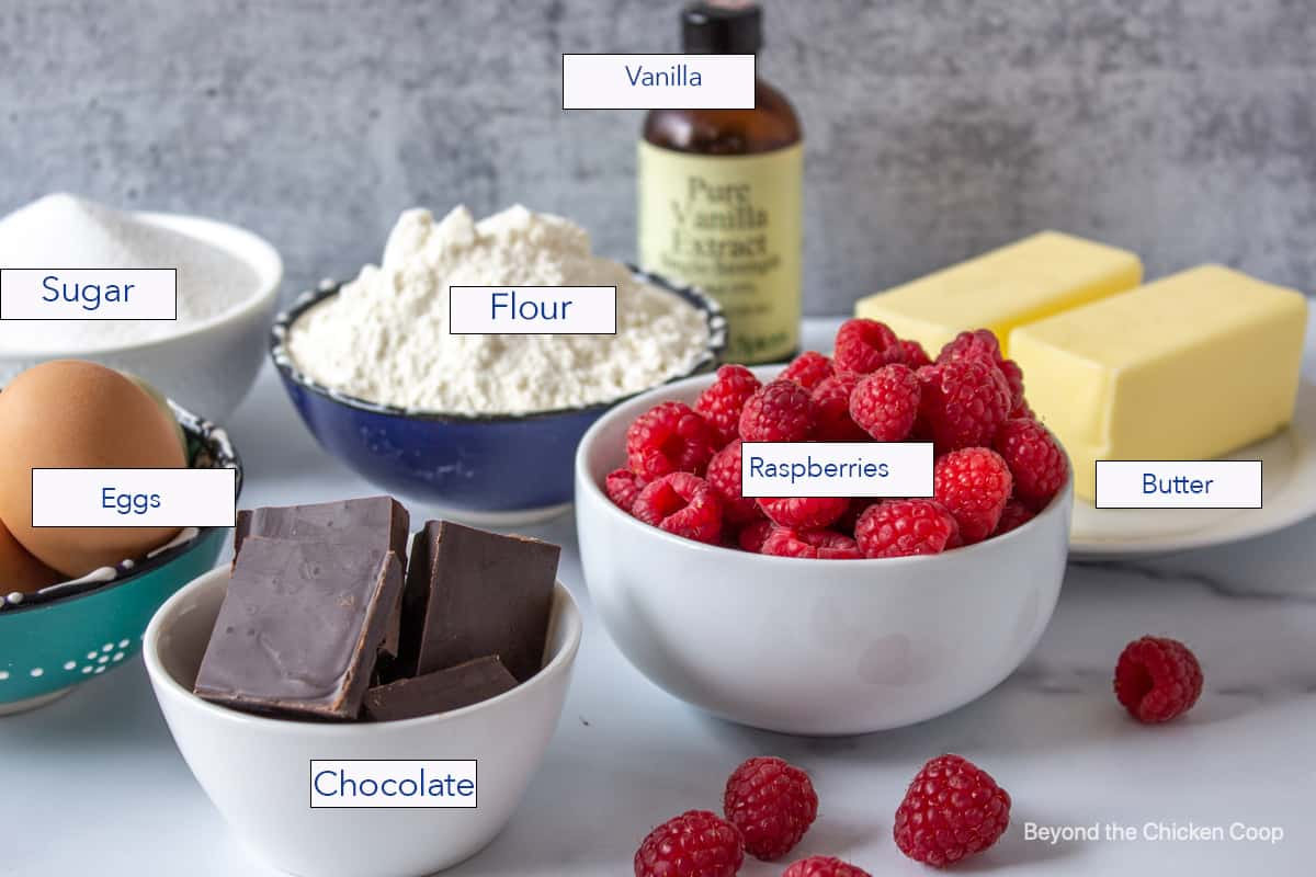 Small bowls filled with chocolate, raspberries, flour and sugar.