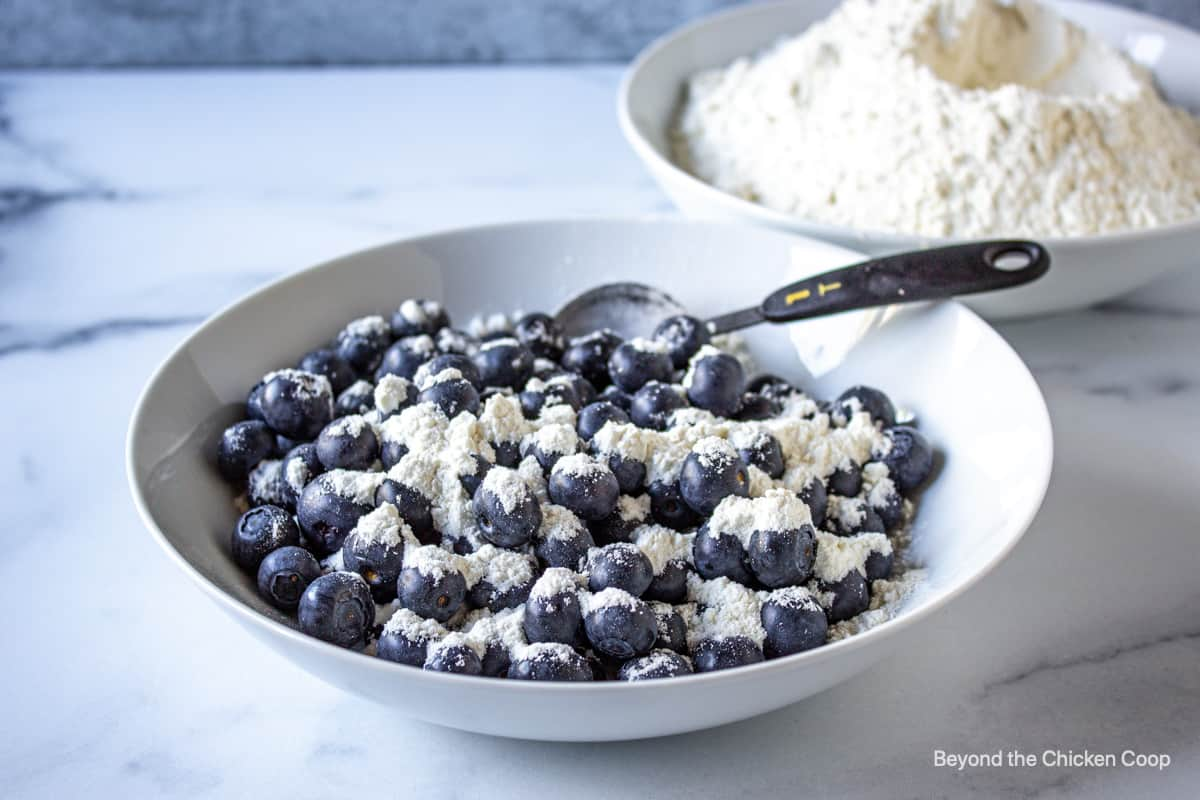A bowl of blueberries mixed with flour.