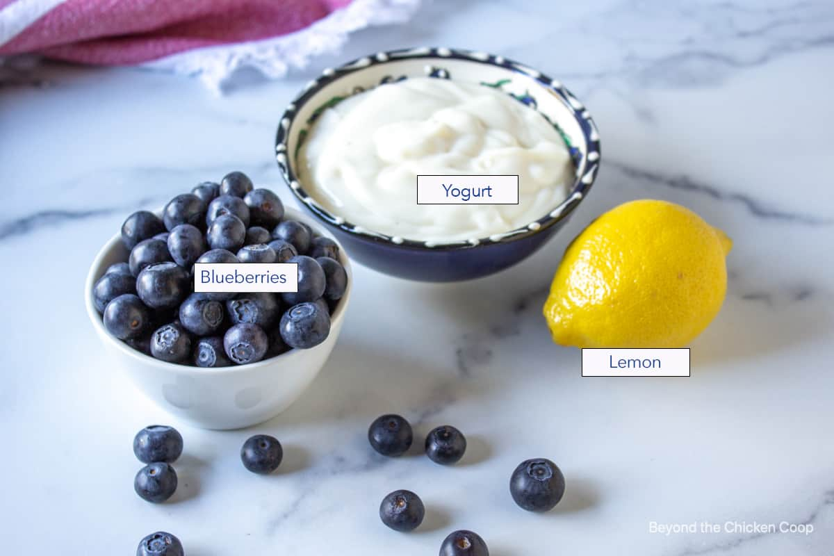A bowlful of blueberries along with a bowl of yogurt and a fresh lemon.