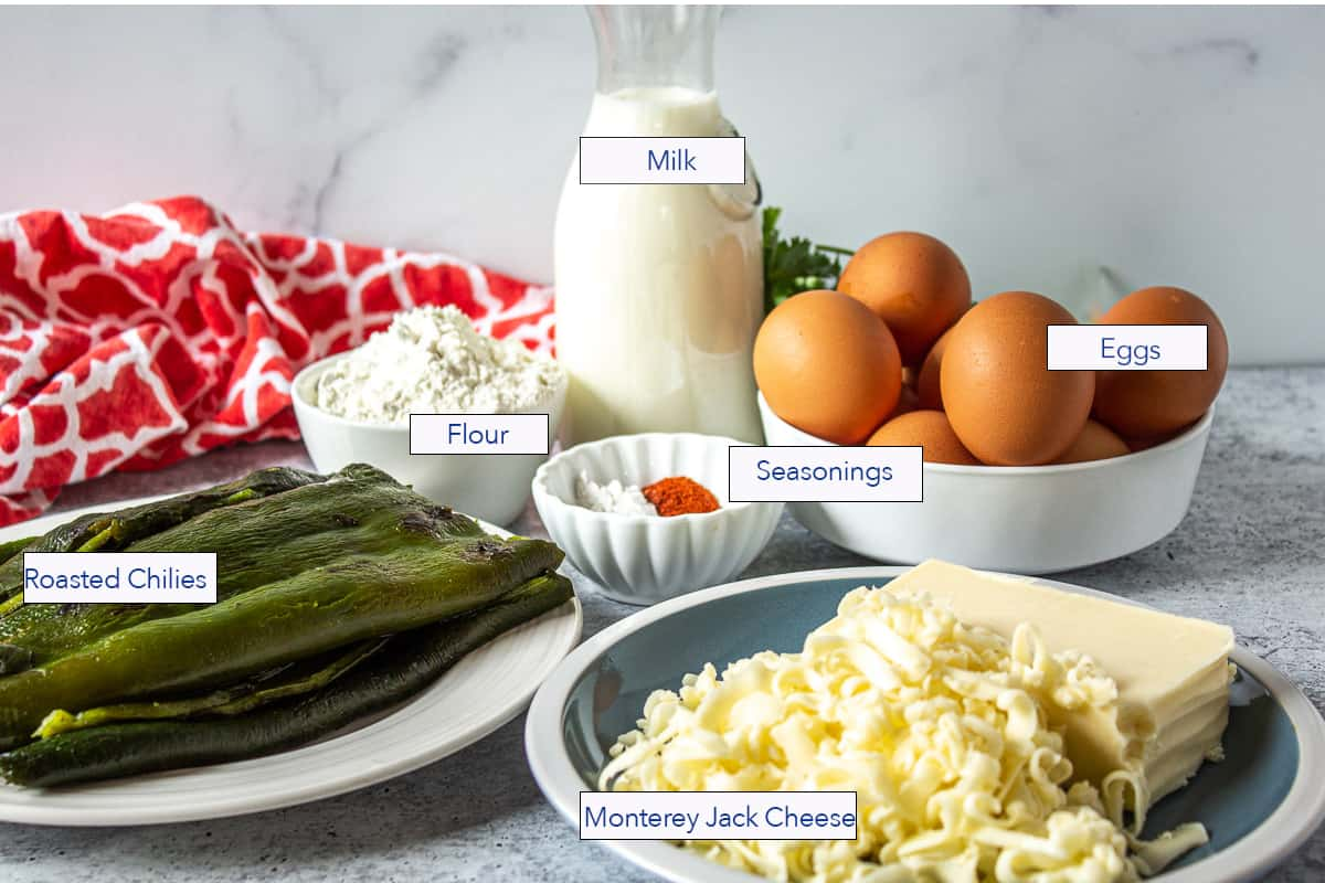 A display of ingredients used for making an egg casserole.