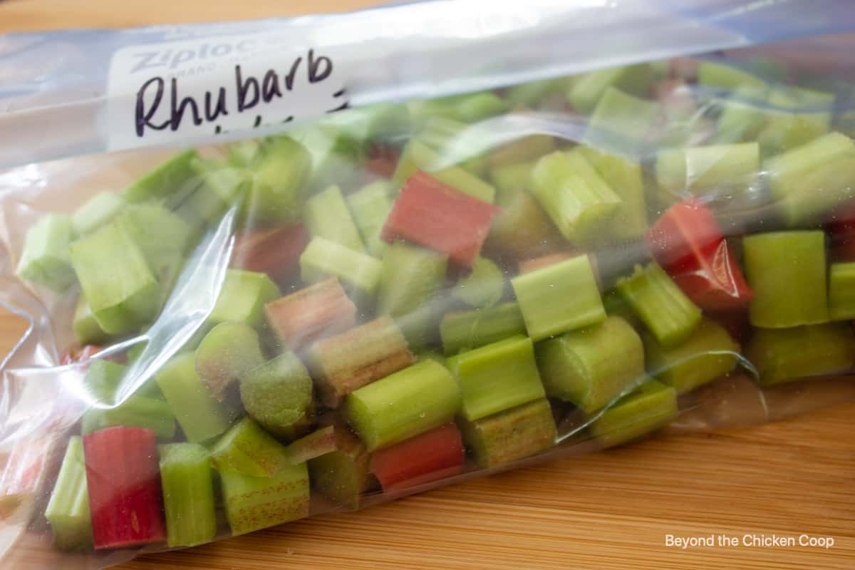 A ziplock bag filled with cut rhubarb.