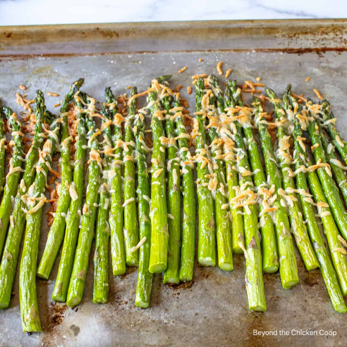A baking sheet filled with asparagus topped with parmesan cheese.