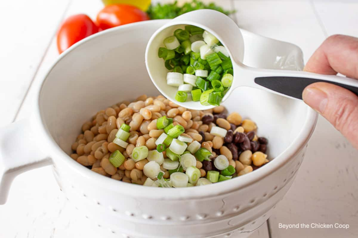 Green onions being added to a bowl of beans.