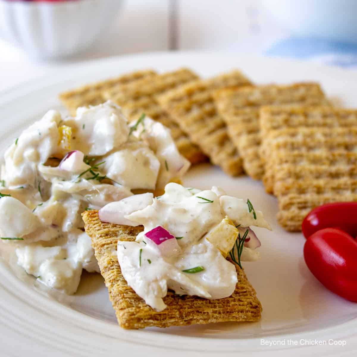 Crackers topped with walleye salad.