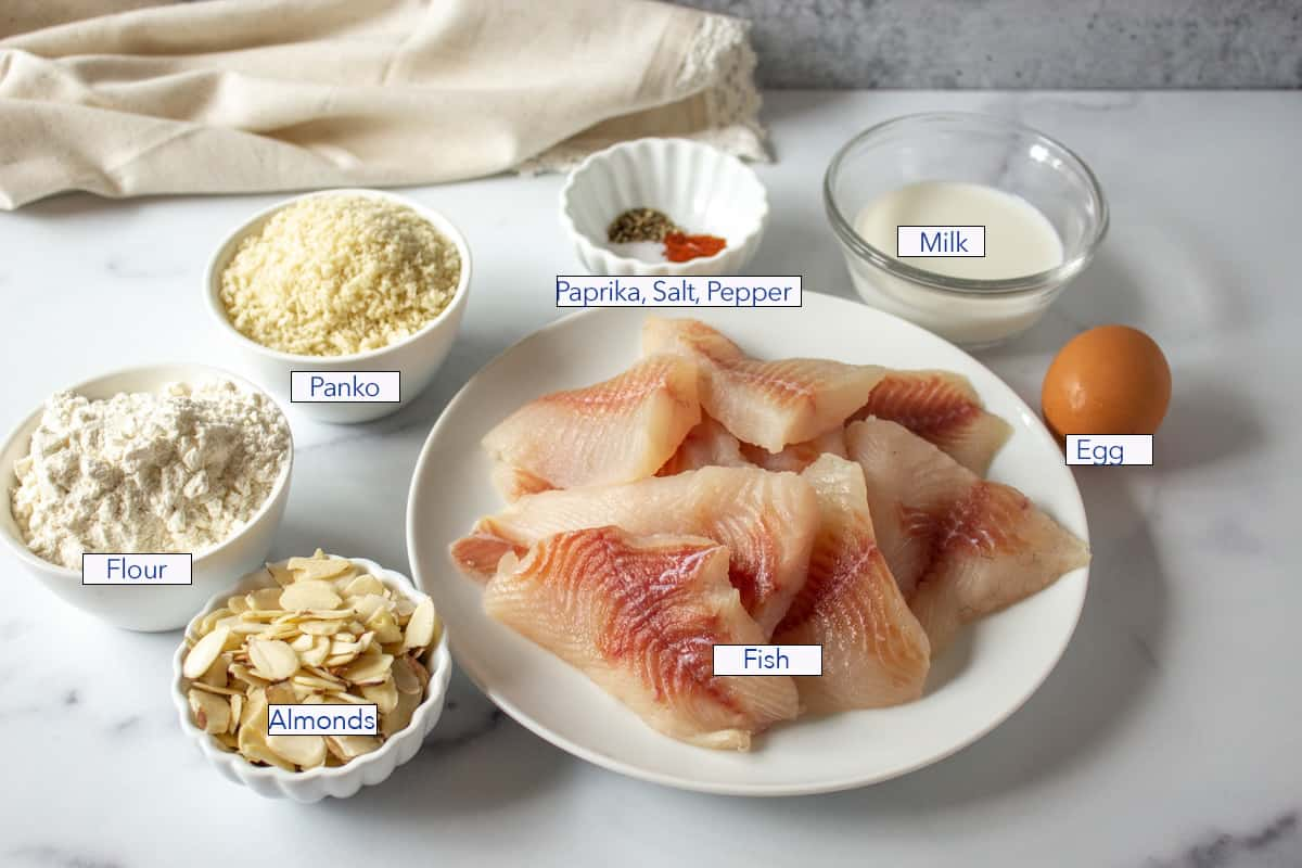 A plate with uncooked fish fillets and small bowls filled with almonds, flour and panko.