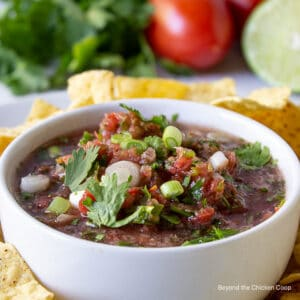 A white bowl filled with a tomato salsa with green onions and cilantro.
