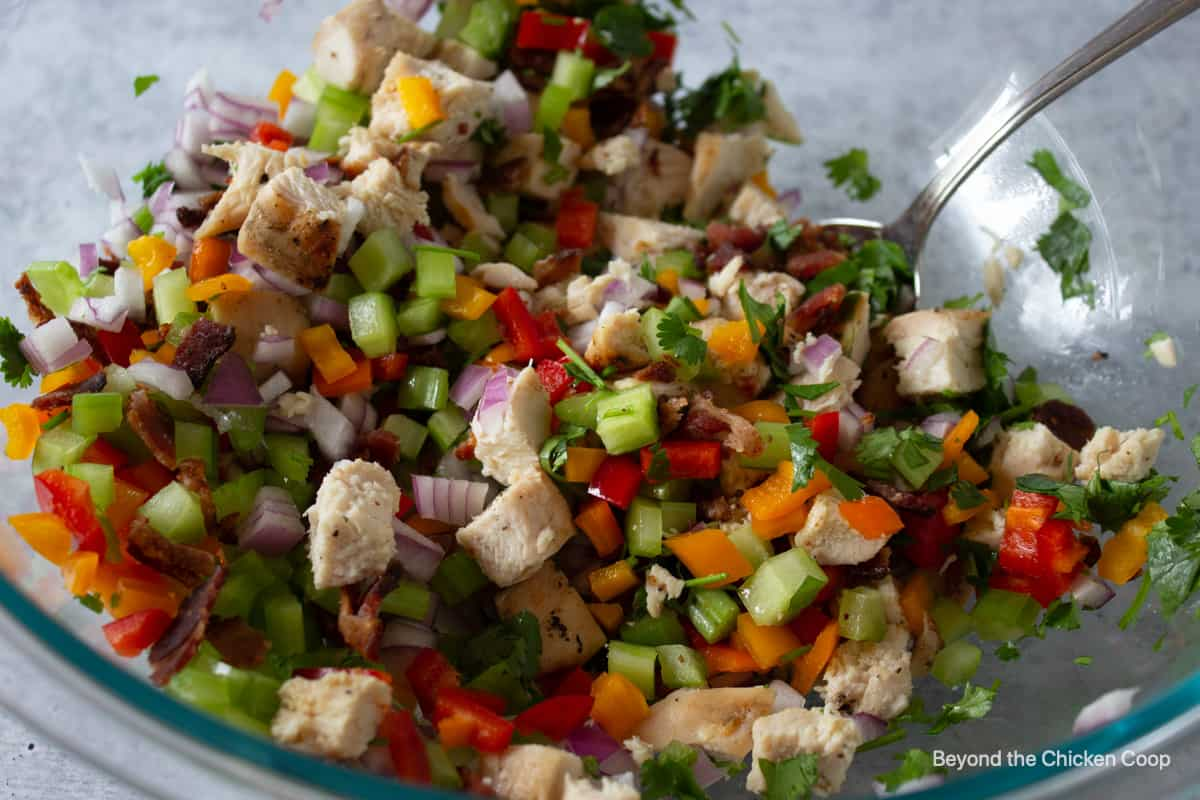 Chicken salad ingredients in a large glass bowl.