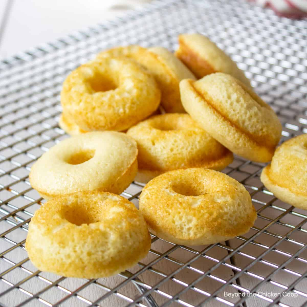 Mini donuts on a cooling rack.