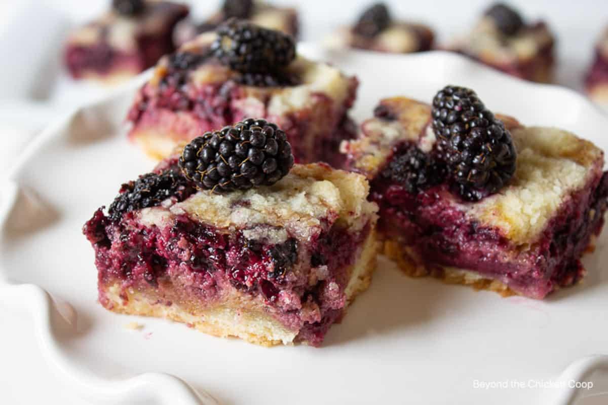 Three blackberry bars on a white scalloped dish.