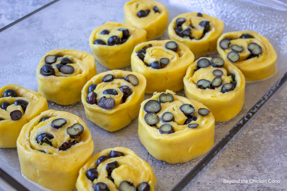 Blueberry sweet rolls in a glass baking dish.