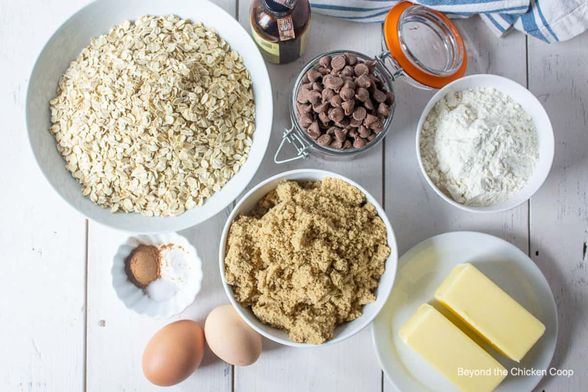 Ingredients for making oatmeal cookies.