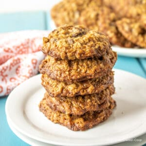 A stack of oatmeal cookies on a white plate.
