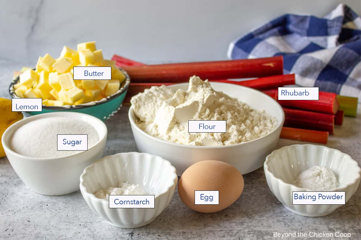 Ingredients for baking in small bowls.
