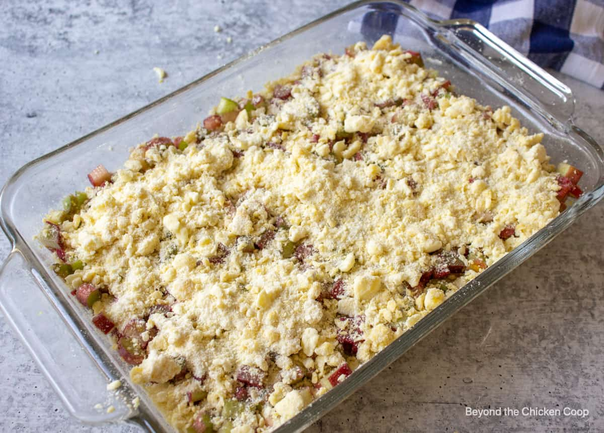 A crumb topping on an unbaked dessert.