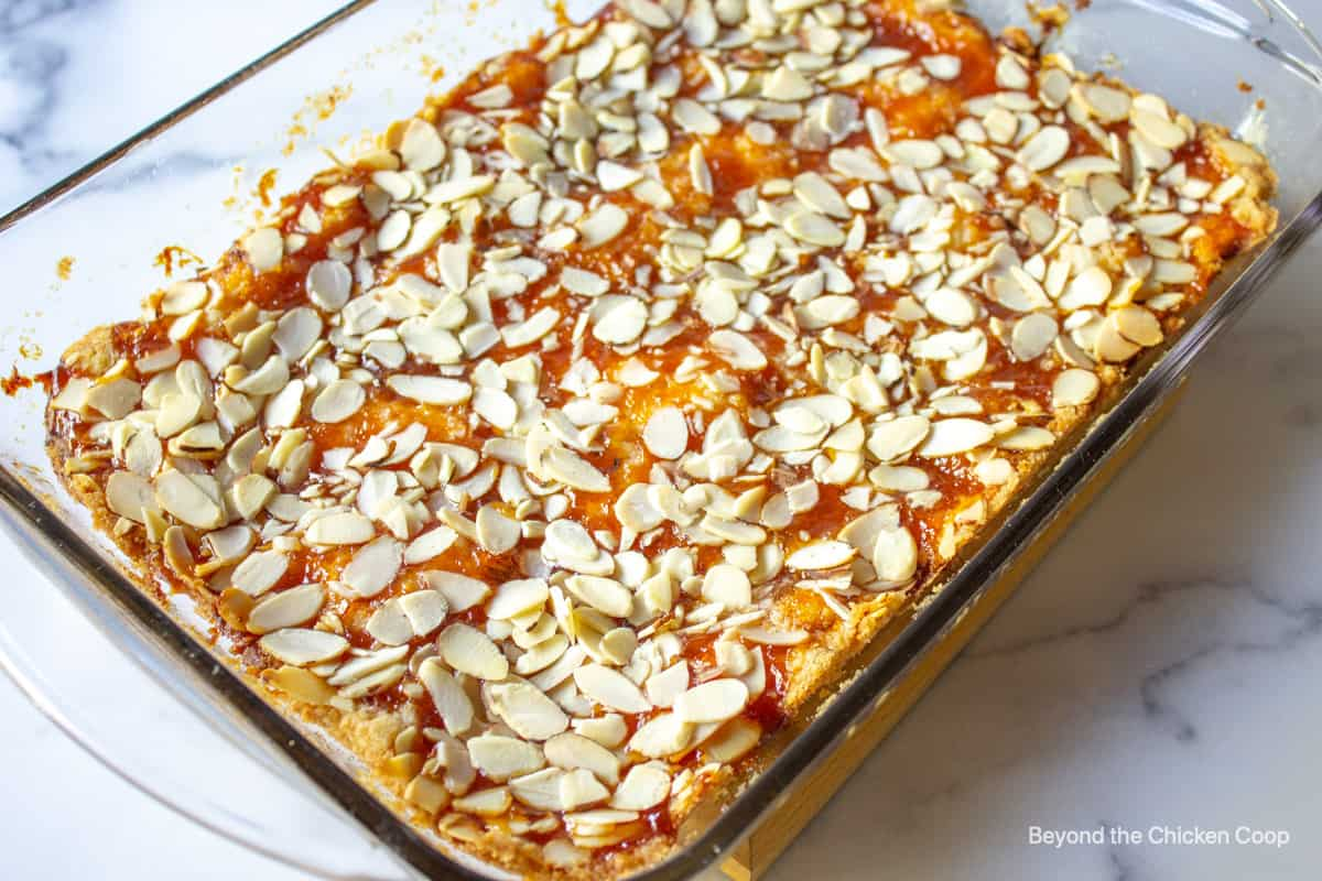 Apricot bars topped with sliced almonds in a baking dish.