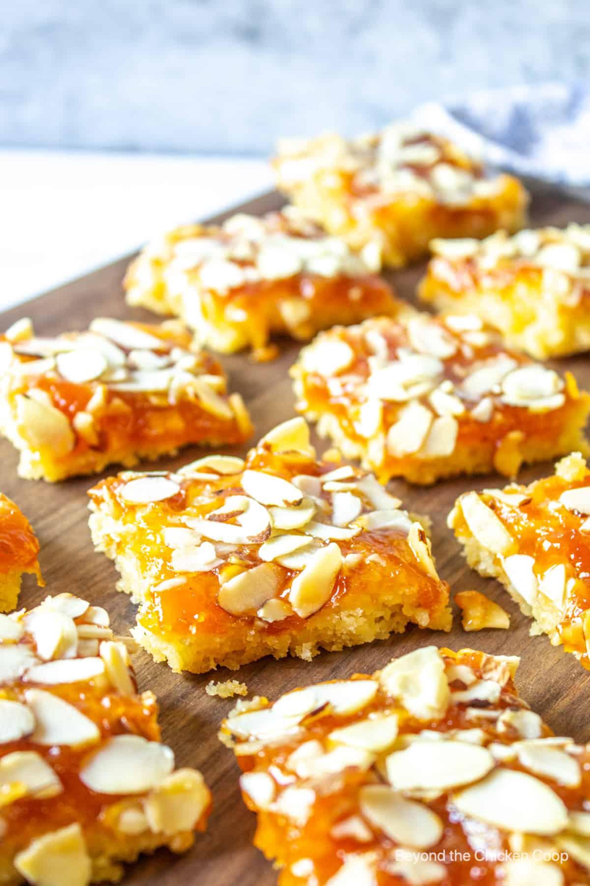 Apricot Almond Bars cut into squares.