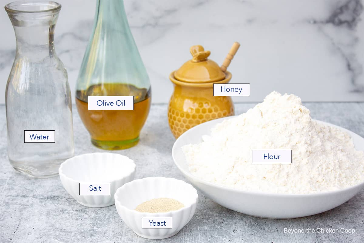 Ingredients for making bread.