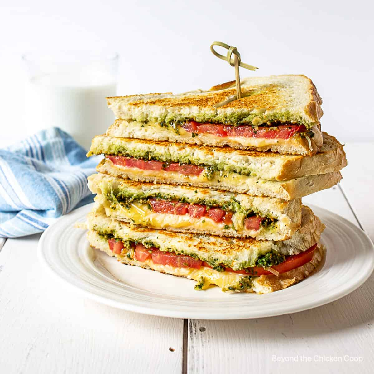 A stacked grilled cheese sandwich.