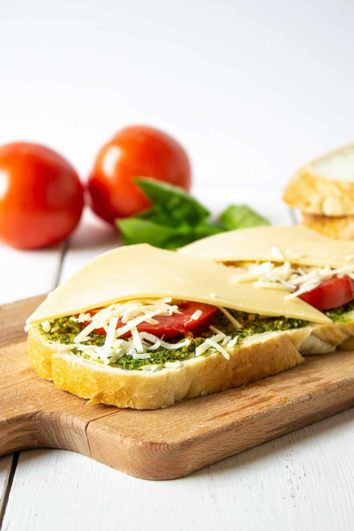 An open faced sandwich with cheese, tomatoes and pesto.