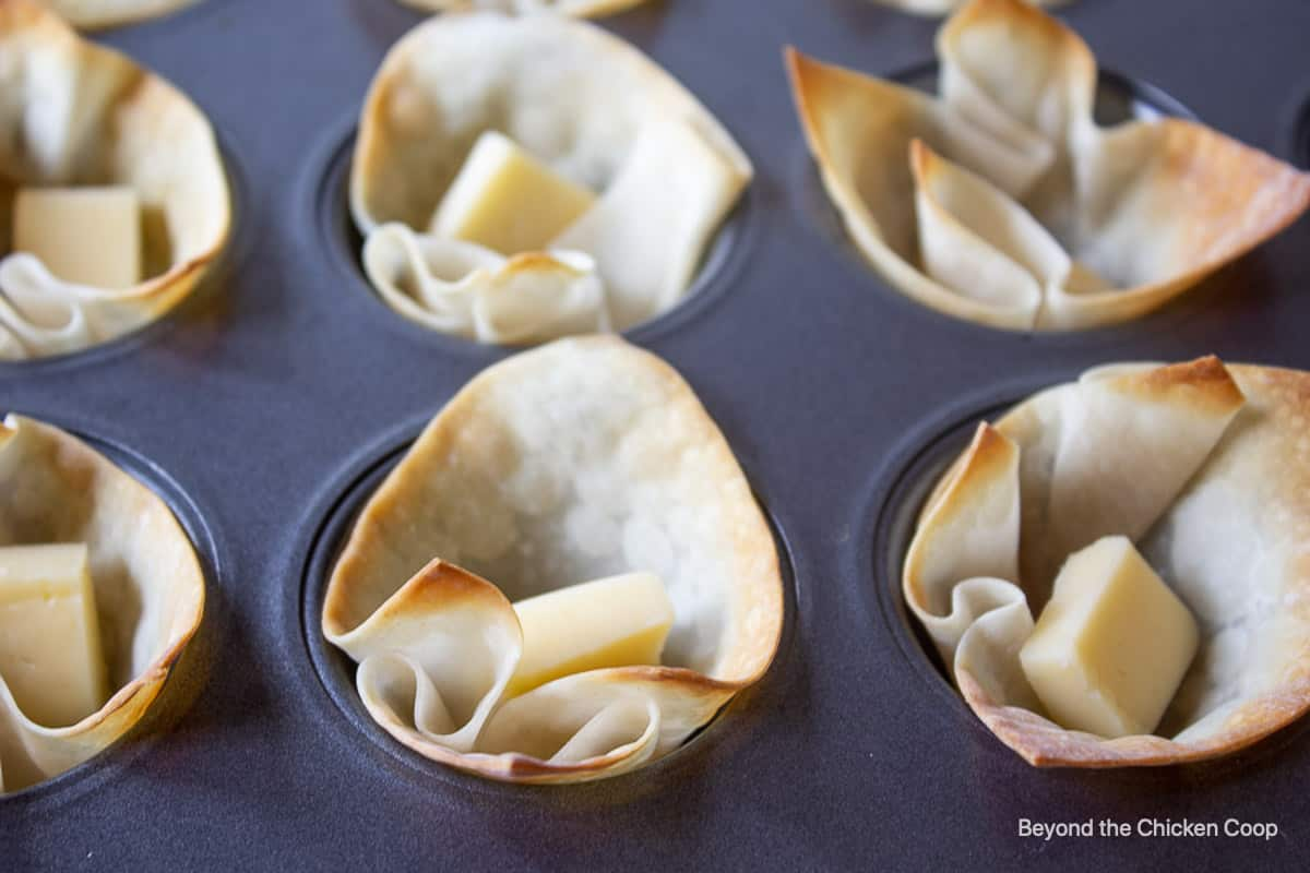 A small piece of cheese in a wonton cup.