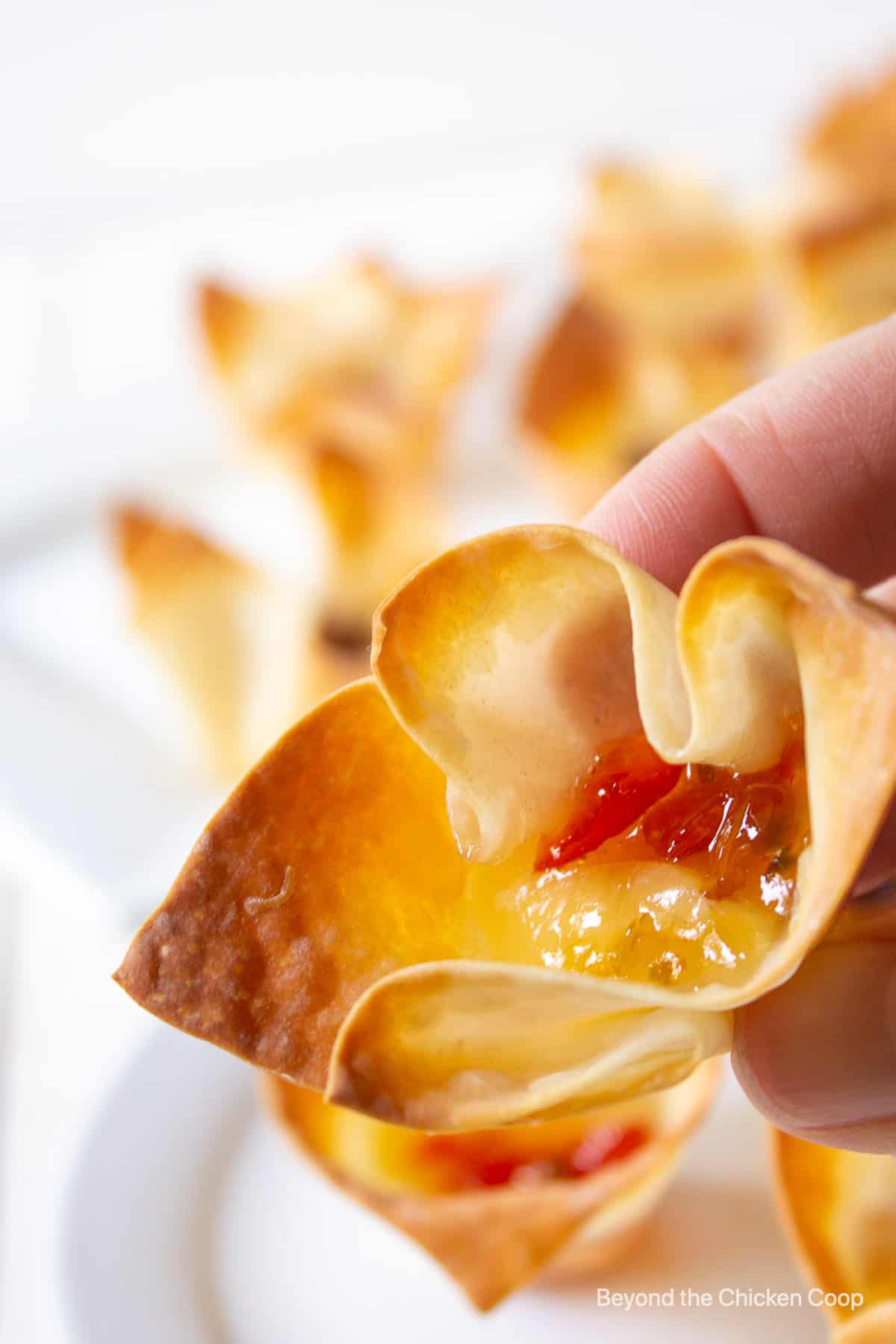 An appetizer filled with cheese and pepper jelly.