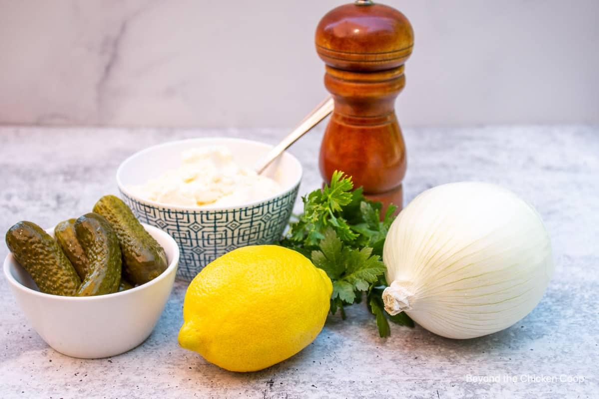 Ingredients for making tartar sauce.