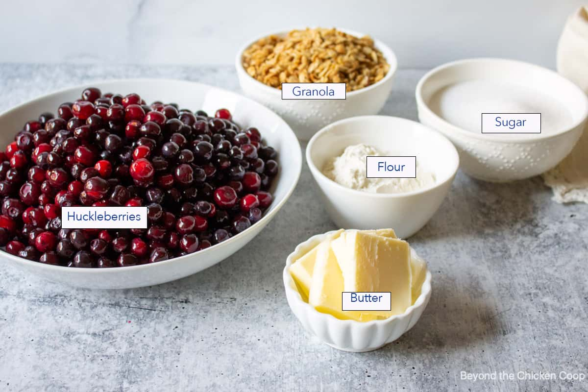 Ingredients used for making a huckleberry crisp.