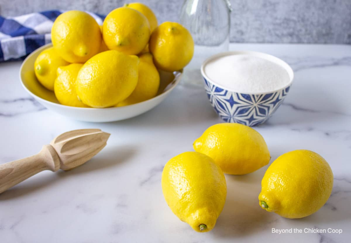 Fresh lemons on a counter.